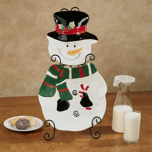 Snowman Accent Plates and Holder Multi Cool Set of Three