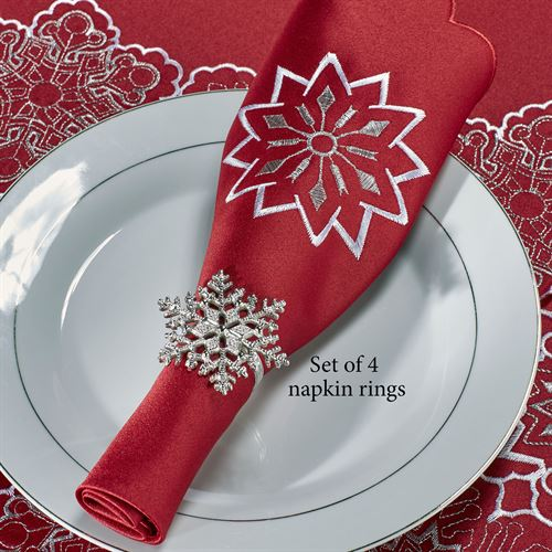 Snowflake Napkin Rings Silver Set of Four