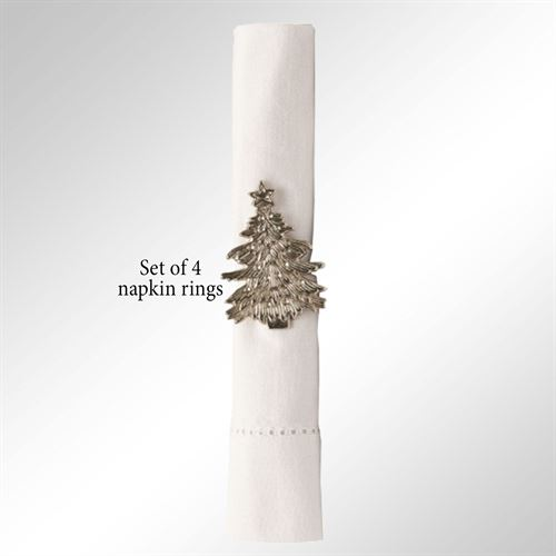 Christmas Tree Napkin Rings Aged Silver Set of Four