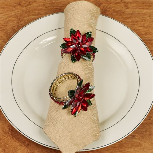 Jeweled Poinsettia Napkin Rings Red Set of Four