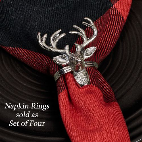 Reindeer Napkin Rings Antique Silver Set of Four
