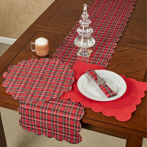 Hadley Plaid Table Runner Red 14 x 70