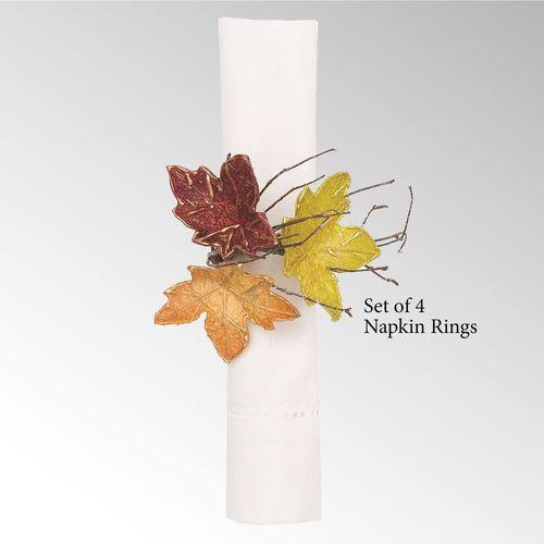 Autumn Leaves Napkin Rings Multi Warm Set of Four