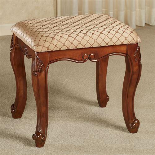Magnificent Julian Upholstered Wooden Vanity Stool Squirreltailoven Fun Painted Chair Ideas Images Squirreltailovenorg