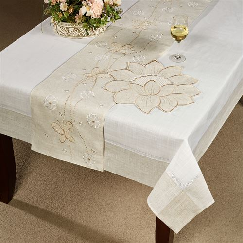 Spring Breeze Oblong Tablecloth Almond