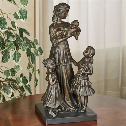 Mother and Children Table Sculpture Bronze