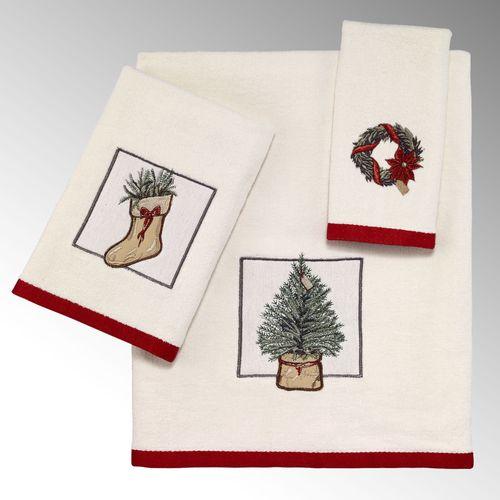 A Farmhouse Holiday Bath Towel Set Ivory Bath Hand Fingertip