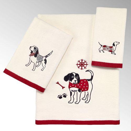 Happy Pawlidays Bath Towel Set Ivory Bath Hand Fingertip