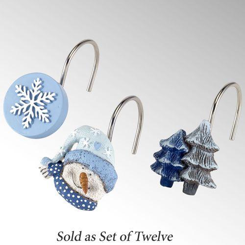 Let It Snow Shower Hooks Blue 12 Piece Set