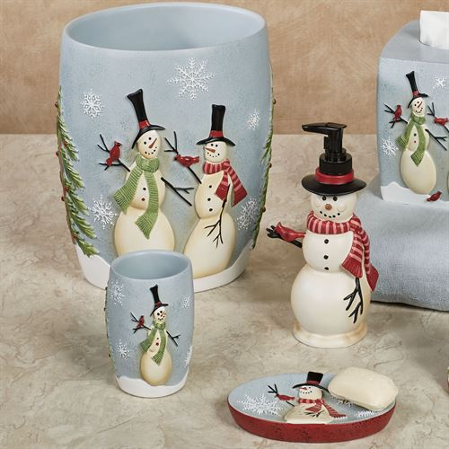 Tall Snowmen Lotion Soap Dispenser Ivory