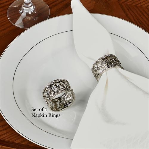 Diamond Filigree Napkin Rings Silver Set of Four