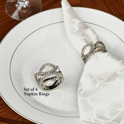 Diamond Wave Napkin Rings Silver Set of Four