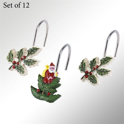 Spode Christmas Shower Hooks Green 12 Piece Set