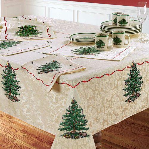 Spode Christmas Oblong Tablecloth Light Cream