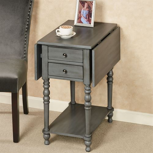 Kimberly Gray Wooden Drop Leaf Side Table