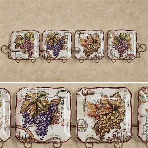 Vintners Journal Grape Dessert Plates Multi Earth Set of Four