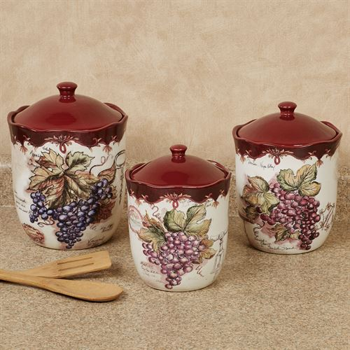 Vintners Journal Kitchen Canisters Multi Earth Set of Three