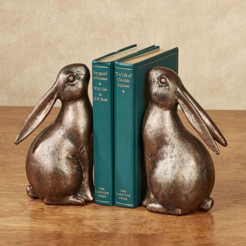 Bunny Rabbit Bookends Bronze
