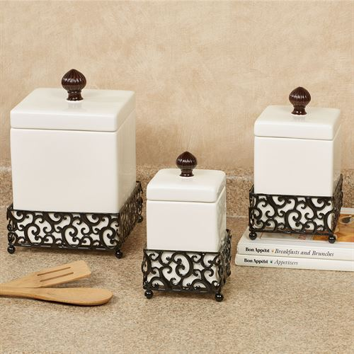 Regal Estate Kitchen Canisters Ivory Set of Three