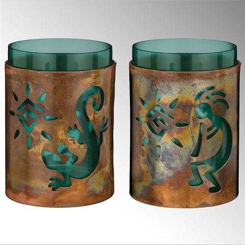 Southwest Style Candleholders Copper Set of Two