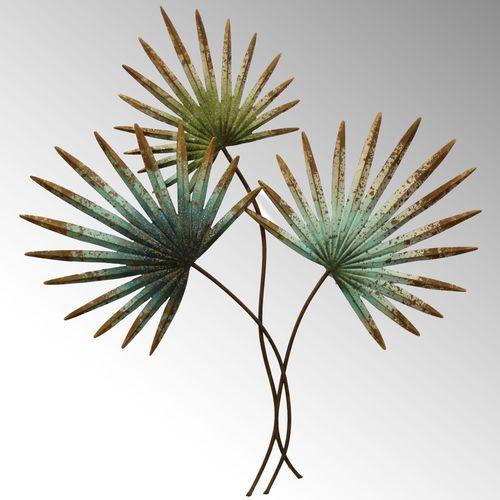 Tropical Fan Palm Leaves Metal Wall Art