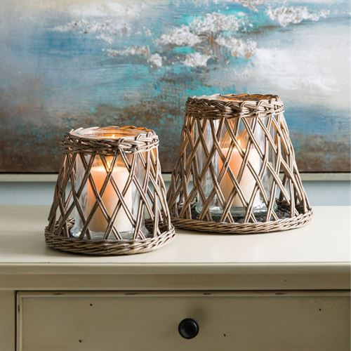 Outer Banks Woven Hurricane Candleholders Natural Set of Two