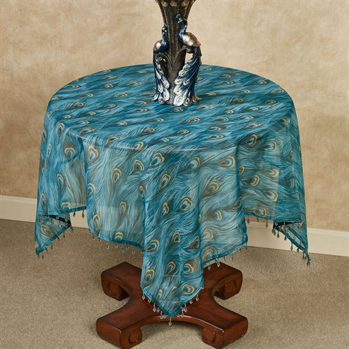 King Peacock Sheer Table Topper Sapphire 42 Square