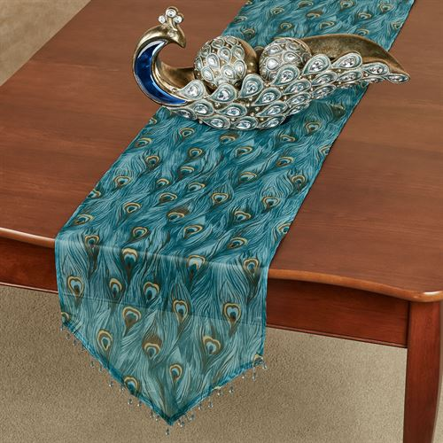 King Peacock Sheer Table Runner Sapphire 14 x 72