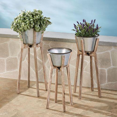 Nina Galvanized Planters Gray Set of Three