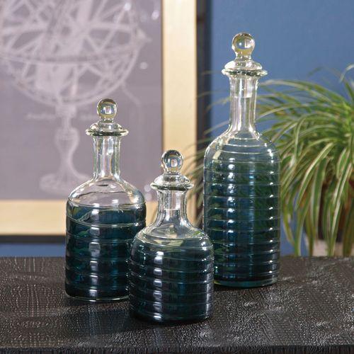 Calgary Decorative Glass Bottles Clear Set of Three