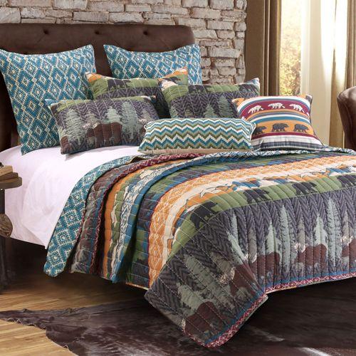 Black Blear Lodge Quilt Bed Set Multi Warm