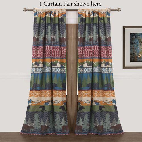 Black Bear Lodge Curtain Pair Multi Warm 84 x 84