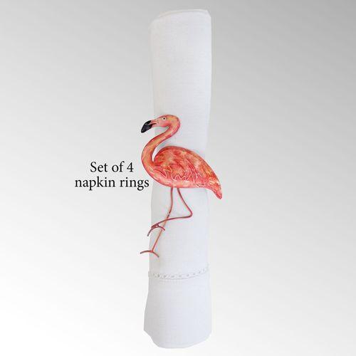 Flamingo Napkin Rings Pink Set of Four