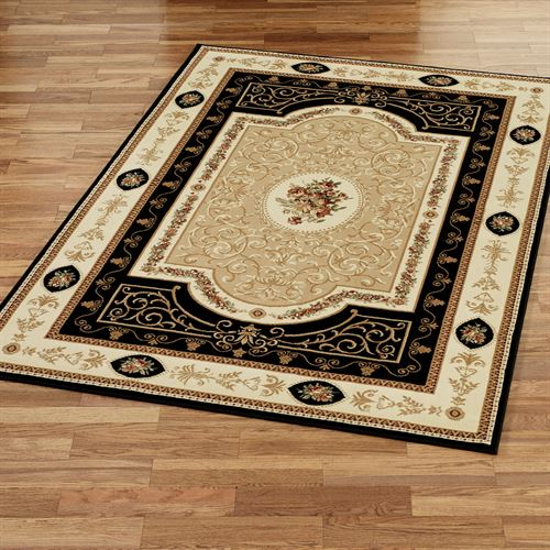 Rose and Scroll Aubusson Rectangle Rug