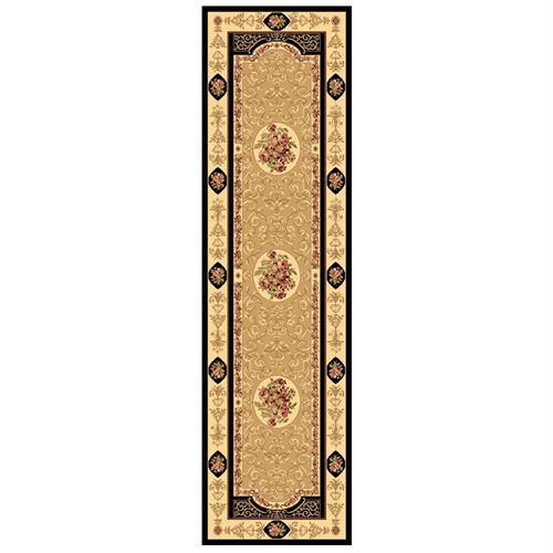 Rose and Scroll Aubusson Rug Runner  23 x 710