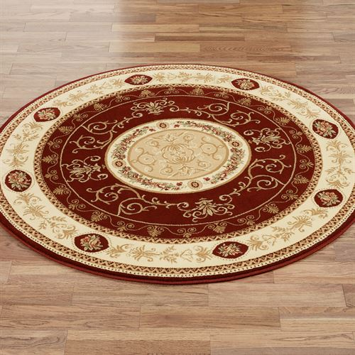 Rose and Scroll Aubusson Round Rug  53 Round