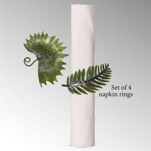 Palm Leaf Napkin Rings Green Set of Four
