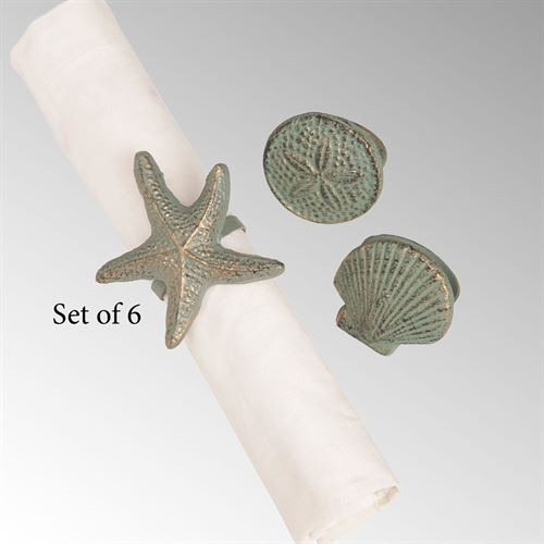 Seashell Napkin Rings Patina Set of Six