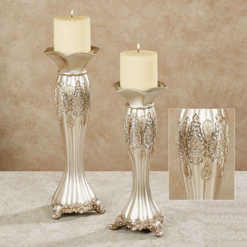 Krystalynn Paisley Candleholder Set Platinum Set of Two
