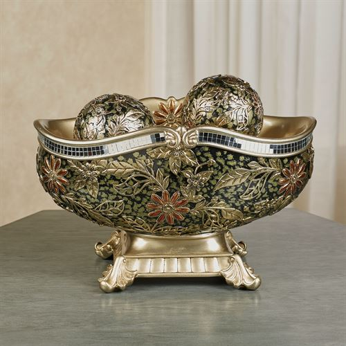 Evangeline Centerpiece Bowl and Orbs Multi Metallic Set of Three