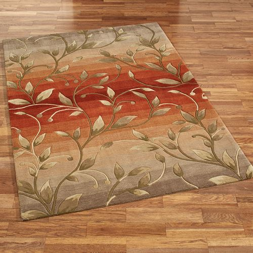 Ombre Leaf Rectangle Rug Rust
