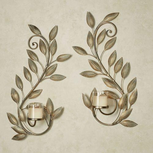 Leaf Reverie Wall Sconces Golden Bronze Set of Two
