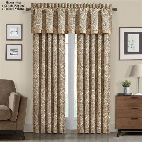 Sardinia Wide Tailored Curtain Pair Dark Beige 100 x 84