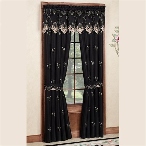 Annabella Rose Tailored Curtain Pair Black