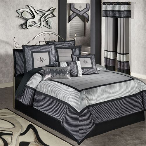 Omega Comforter Set Dark Gray