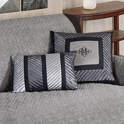 Omega Pleated Pillow Dark Gray Rectangle