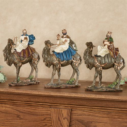 Three Wise Men Table Sculptures Multi Jewel Set of Three