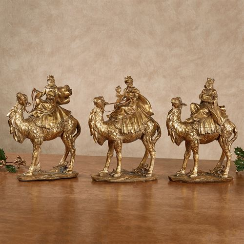 Three Wise Men Table Sculptures Gold Set of Three