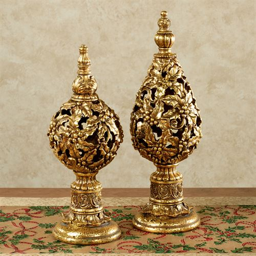 Holly Christmas Tabletop Finials Aged Gold Set of Two
