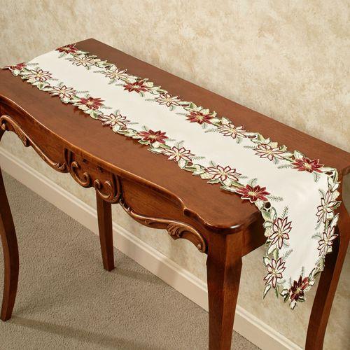 Garnet Poinsettia Long Table Runner Cream 9 x 60